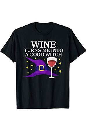 BUBL TEES Wine Turns Me Into A Good Witch Happy Halloween T-Shirt