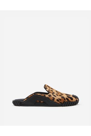 Dolce & Gabbana Sandals and Slides - LEOPARD PRINT NS1 SLIPPERS WITH PONY HAIR EFFECT