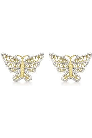 Carissima Gold 9 ct 2 Colour Gold Diamond Cut Butterfly Stud Earrings