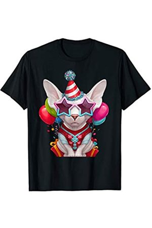 Cats Love Decorations White Sphynx Cat in Glasses Birthday Party T-Shirt