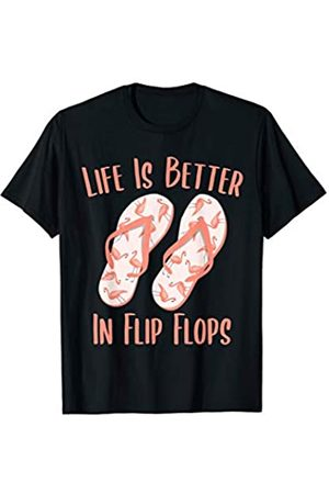 Life Is Better In Flip Flops Gifts Life Is Better In Flip Flops Flamingo Beach Vacation Gift T-Shirt