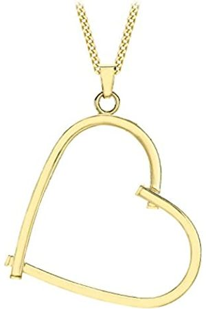 Carissima Gold 9ct Gold Square Tube Open Heart Pendant on Curb Chain Necklace of 46cm/18""