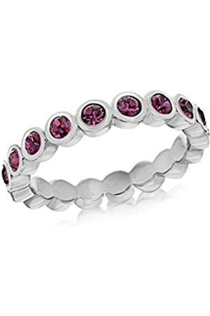Tuscany Silver Women's Sterling Silver Rhodium Plated 3 mm Round Amethyst Crystal Rubover Set Band Stacking Ring