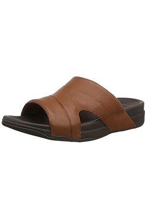 FitFlop Men's Freeway Pool Slide in Leather Flip Flops, (Dark Tan 277)