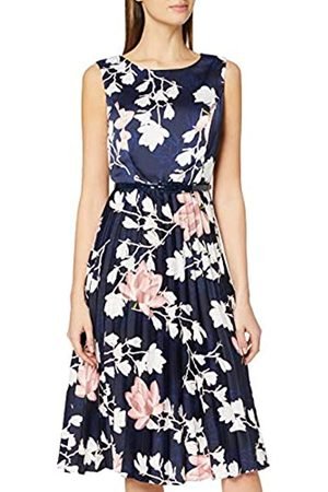 Dorothy Perkins Women's Luxe Navy Floral Belted Satin Pleat Midi Dress Casual