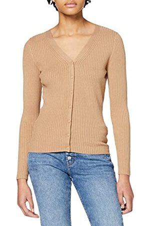 Dorothy Perkins Women's Camel Fitted Rib Cardigan Sweater