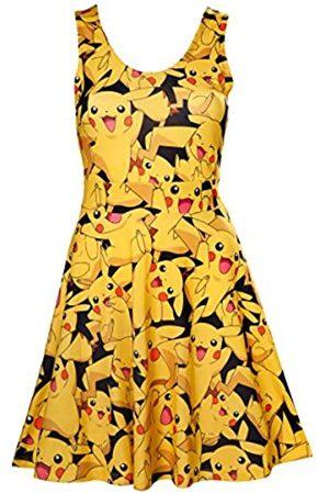 Meroncourt Women's Pokemon Woman's All-Over Pikachu Printed Sleeveless Dress, Medium, Multi-Colour