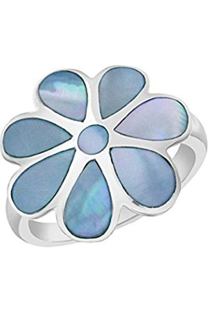 Tuscany Silver Sterling Blue Mother of Pearl Flower Ring - Size P