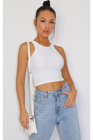 PRETTYLITTLETHING Slinky Fitted Racer Crop Top