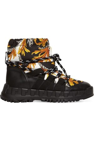 VERSACE Girls Boots - Baroque Nylon & Faux Leather Ski Boots