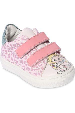 MONNALISA Alice Print Faux Leather Strap Sneakers