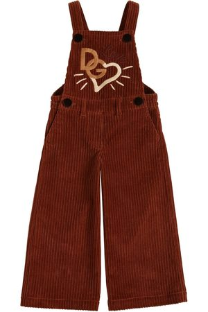 Dolce & Gabbana Love Embroidered Corduroy Overalls