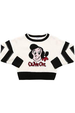 MONNALISA Olive Intarsia Knit Sweater