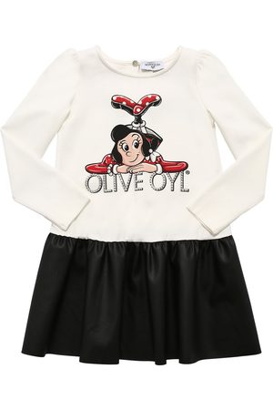 MONNALISA Olive Print Cotton & Faux Leather Dress