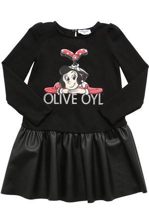 MONNALISA Girls Printed Dresses - Olive Print Cotton & Faux Leather Dress