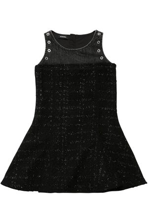Diesel Girls Dresses - Patchwork Bouclè & Denim Dress