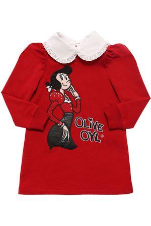 MONNALISA Olive Patch Cotton Jersey Dress