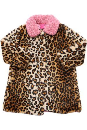 MONNALISA Girls Coats - Leopard Print Faux Fur Coat