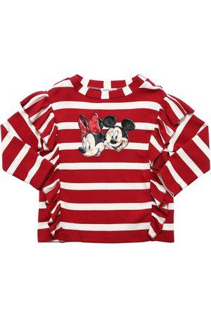 MONNALISA Girls Long Sleeve - Minnie & Mickey L/s Viscose T-shirt