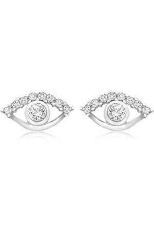 Tuscany Silver Sterling Rhodium Plated Cubic Zirconia Eye Stud Earrings