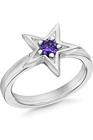 Tuscany Silver Women's Sterling Silver Rhodium Plated 5 mm Amethyst Claw Set Star Stacking Ring