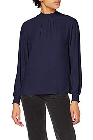 Dorothy Perkins Women's Navy Plain Shirred Neck Top Blouse