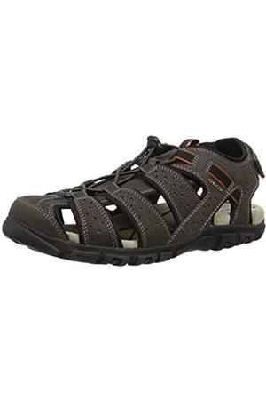 Geox Sandal Strada B, Men Platform Sandals, (Dk Coffee)