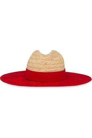 Miu Miu Denim detail straw hat - Neutrals