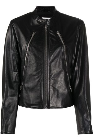 MM6 MAISON MARGIELA Band collar zipped leather jacket