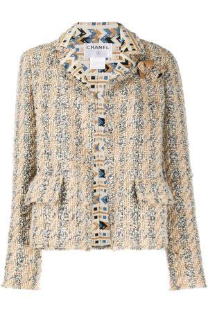 CHANEL 2004 geometric detailing tweed jacket - Neutrals