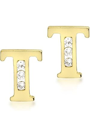 Carissima Gold 9ct Cubic Zirconia 'T' Initial Stud Earrings