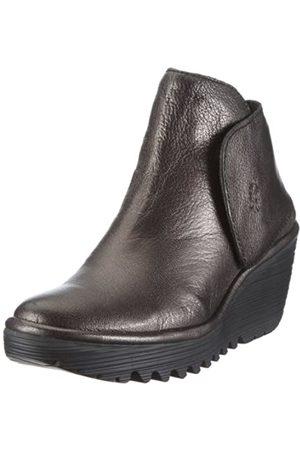 Fly London Women's Yogi Leather Graphite Platforms Boots P500046027 5 UK