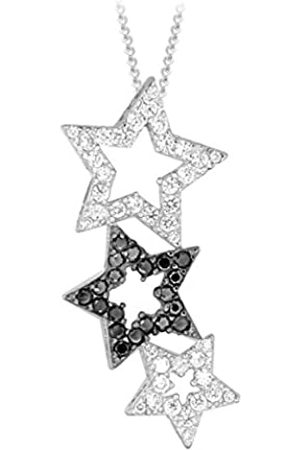 """Tuscany Silver Sterling Black and White Cubic Zirconia Triple Star Pendant on Curb Chain of 46cm/18"""""""