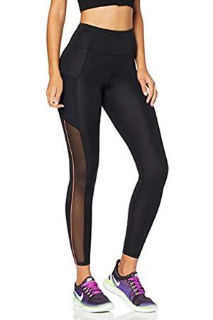 AURIQUE Amazon Brand - Women's High Waisted Side Stripe Sports Leggings, 12