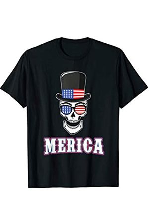 BCC Patriotic Shirts & 4th of July Gifts Patriotic Skull Uncle Sam Hat US Flag 4th of July Merica T-Shirt