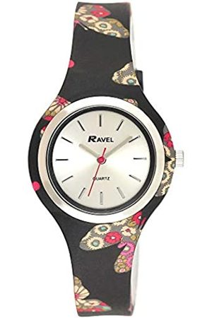 Ravel Women's Floral Quartz Watch with Patterned Silicone Strap