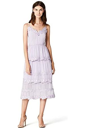 TRUTH & FABLE Amazon Brand - Women's Midi Chiffon Dress With Floral Embroidery, 16