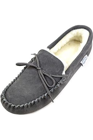 Snugrugs Men's Alfie Wool Lined Suede Moccasin Slipper, (Dark ), 47 EU