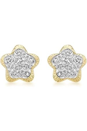 Carissima Gold 9 ct Gold 0.15 ct Diamond Flower Stud Earrings
