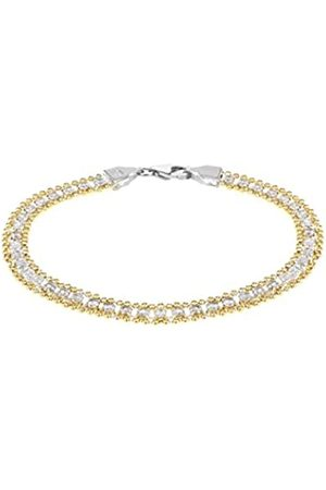 Tuscany Silver Women's Sterling Silver Tone 3 x 3 mm Square Cubic Zirconia and 5.8 mm Ball Chain Bracelet of Length 19 cm/7.5 Inch