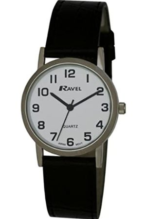 Ravel Large Case Fashion on PU Strap Men's Quartz Watch with Dial Analogue Display and Plastic Strap R0102.02.1
