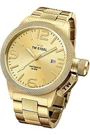 TW steel Canteen Unisex Automatic Watch with Gold Dial Analogue Display and Silver Rose Gold Bracelet CB105