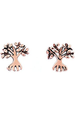 Silver Willow Chrysalis 18k Rose plate Money tree stud earrings. The Money tree is a symbol of affluence and nobility
