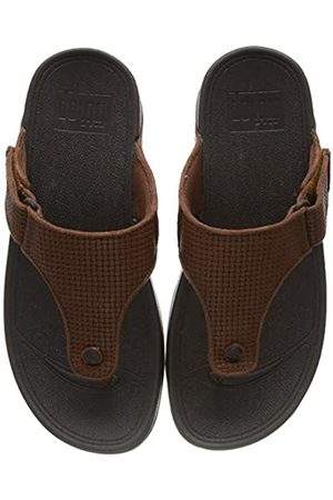 FitFlop Men's TRAKK II Toe-Thongs Flip Flops, (Dark Tan 277)