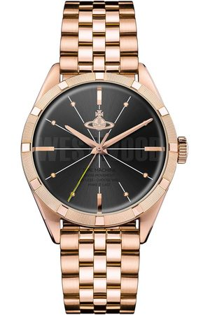 Vivienne Westwood Conduit Black And Gold Detail Logo Dial Gold Stainless Steel Bracelet Mens Watch