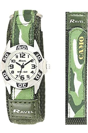 Ravel Glow in The Dark Easy Fasten Children's Army Camouflage Watch with Action Secure Strap