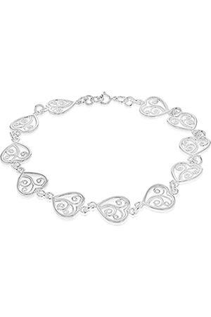 "Tuscany Silver Sterling Filigree Heart Link Bracelet of 19cm/7.5"""