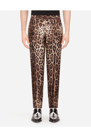 Dolce & Gabbana Trousers and Shorts - SILK MIKADO PANTS WITH LEOPARD PRINT