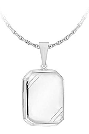 """Tuscany Silver Sterling Large Rectangle Polished Stripe Edge Locket Pendant on Rope Chain of 56cm/22"""""""