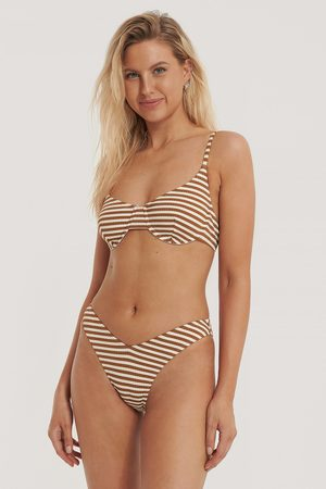 NA-KD Structured Pop Bikini Panty - Brown